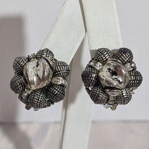 Vintage Mid Century Silver Rhinestone Earrings
